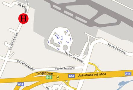 Plano de acceso de Sheraton Bologna Hotel