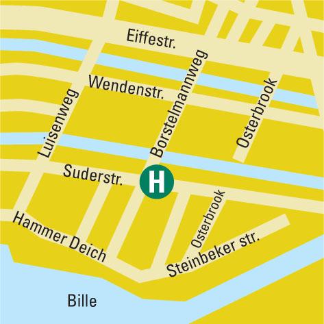 Plano de acceso de Apartment Hotel Hamburg Mitte