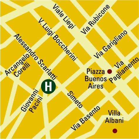 Plano de acceso de Grand Hotel Beverly Hills