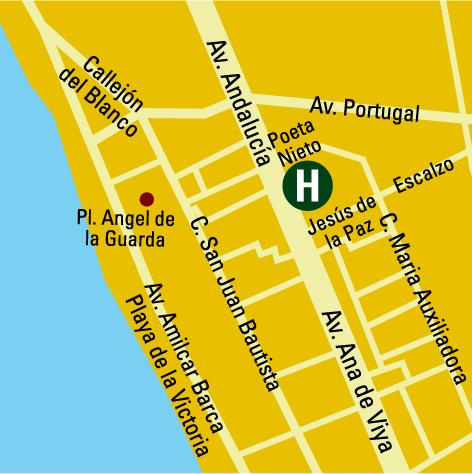 Plano de acceso de Hotel Barcelo Cadiz