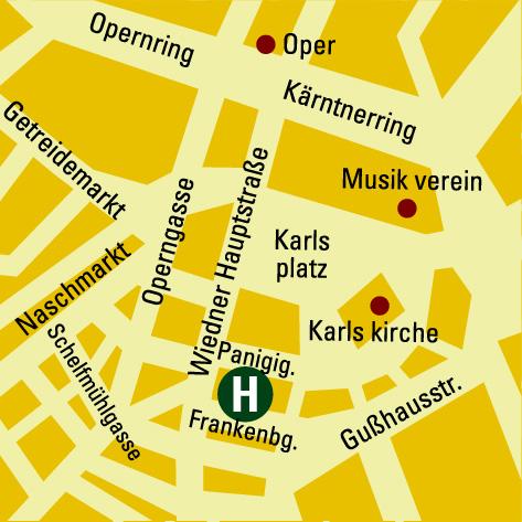 Plano de acceso de Hotel B.W. Premier Kaiserhof