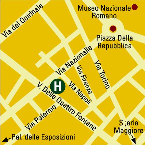 Plano de acceso de Artemide Hotel