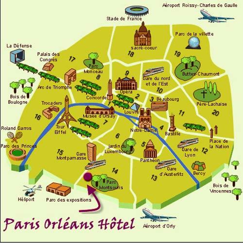 Plano de acceso de Quality Hotel Paris Orleans