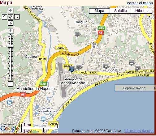 Plano de acceso de Hotel Kyriad Cannes Mandelieu