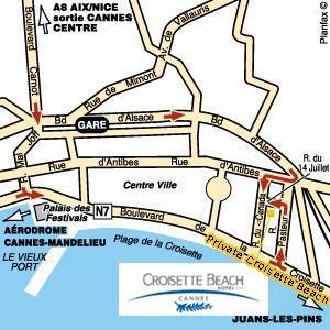 Plano de acceso de Mercure Croisette Beach Hotel