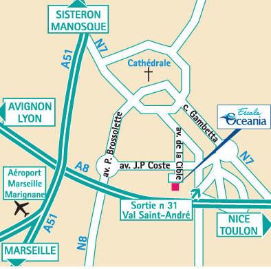 Plano de acceso de Hotel Escale Oceania Aix En Provence
