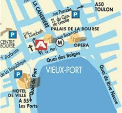 Plano de acceso de New Hotel Vieux-Port
