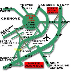 Plano de acceso de Hotel Le Jura Dijon