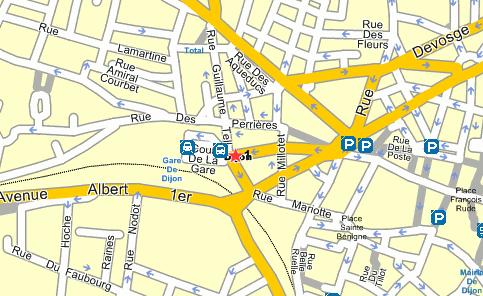Plano de acceso de Hotel Campanile Dijon Centre