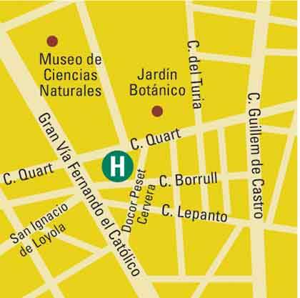 Plano de acceso de Hotel Chill Art Jardin Botanico