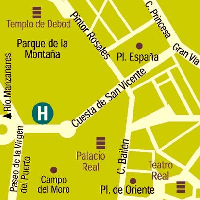 Plano de acceso de Apartosuite Principe Pio