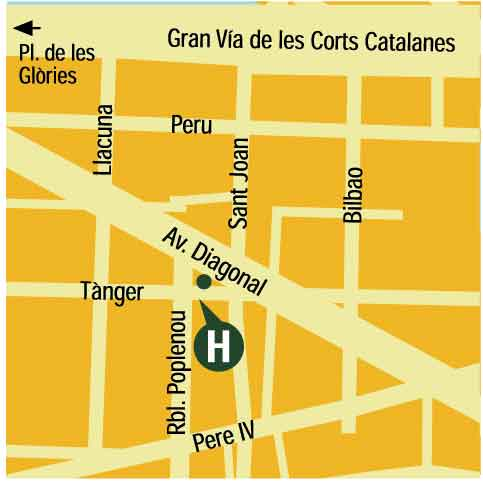 Plano de acceso de Hotel Four Points Bcn Diagonal