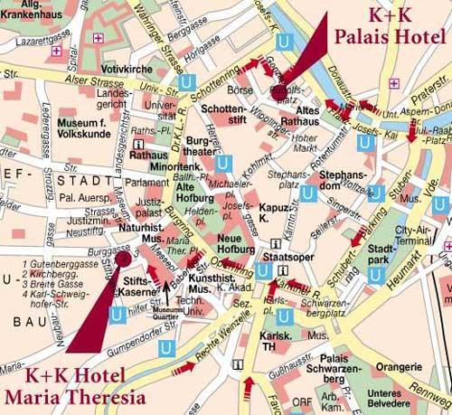 Plano de acceso de Hotel K+K Palais