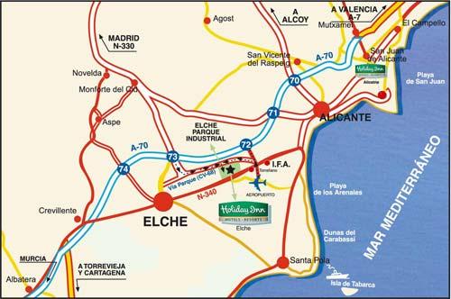 Plano de acceso de Hotel Holiday Inn Elche