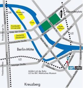 Plano de acceso de Hotel Art'otel Berlin Mitte