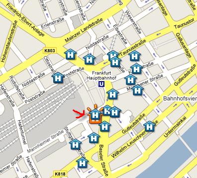 Plano de acceso de Hotel Excelsior Frankfurt