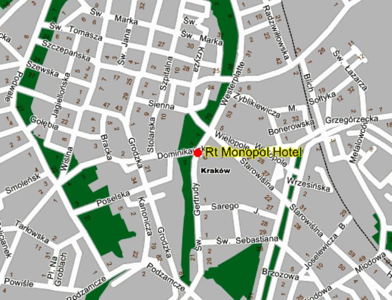Plano de acceso de Monopol Hotel