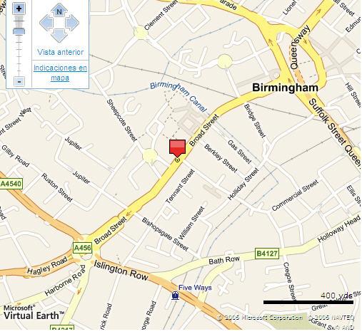Plano de acceso de Hotel Novotel Birmingham Centre