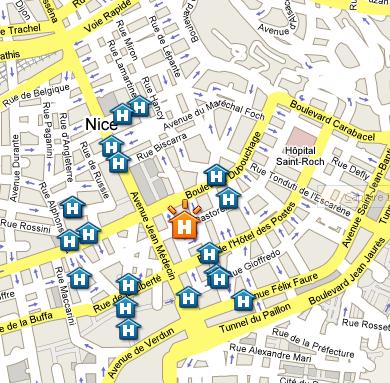 Plano de acceso de Nice Riviera Hotel