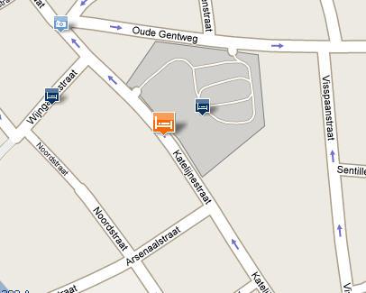 Plano de acceso de Hotel Ibis Brugge Centrum