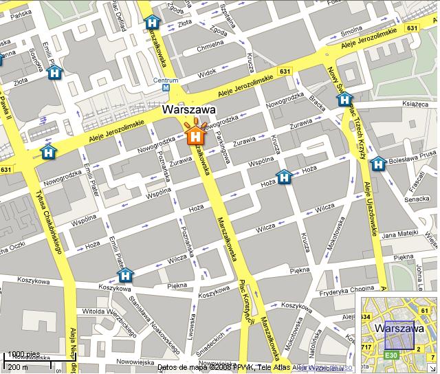 Plano de acceso de Hotel Novotel Warsaw Centrum