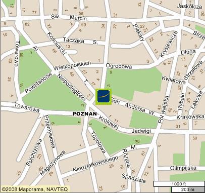 Plano de acceso de Hotel Novotel Poznan Centrum
