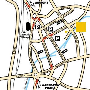 Plano de acceso de Hotel Mercure Hevelius Gdansk