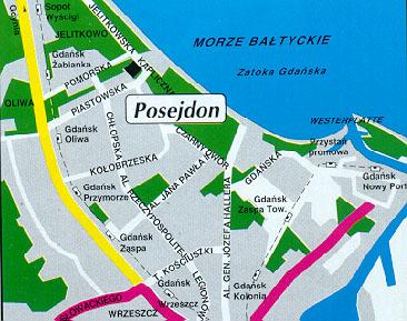 Plano de acceso de Posejdon Hotel