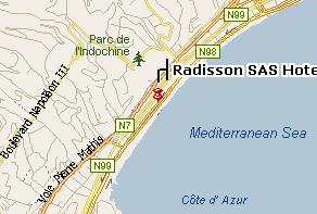Plano de acceso de Hotel Radisson Blu Nice