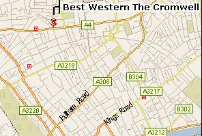Plano de acceso de Best Western Cromwell Hotel