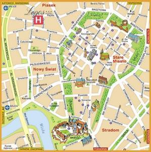 Plano de acceso de Logos Hotel Krakow