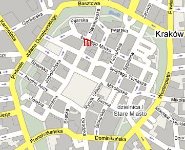 Plano de acceso de Grand Hotel Krakow