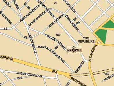 Plano de acceso de Majestic Hotel Belgrade