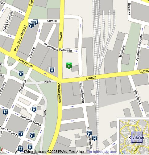 Plano de acceso de Andel¿S Hotel Cracow
