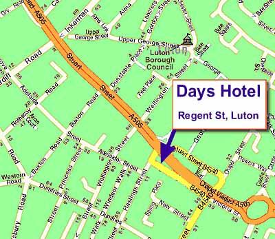 Plano de acceso de Days Hotel Luton