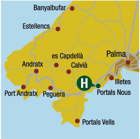 Plano de acceso de Sallés Hotel Marina Portals