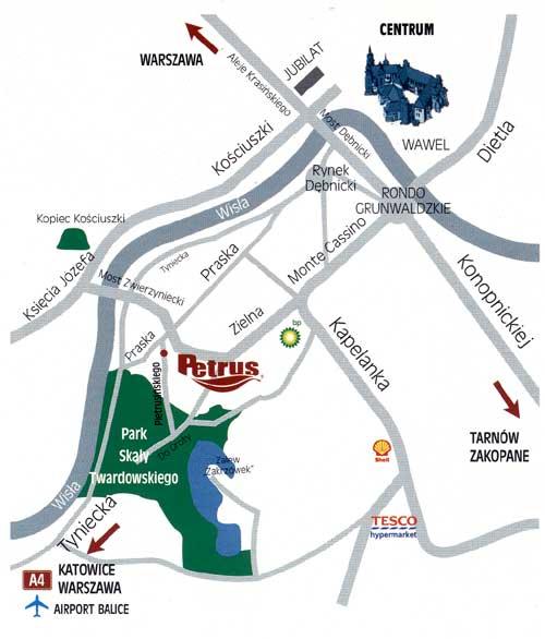 Plano de acceso de Petrus Hotel