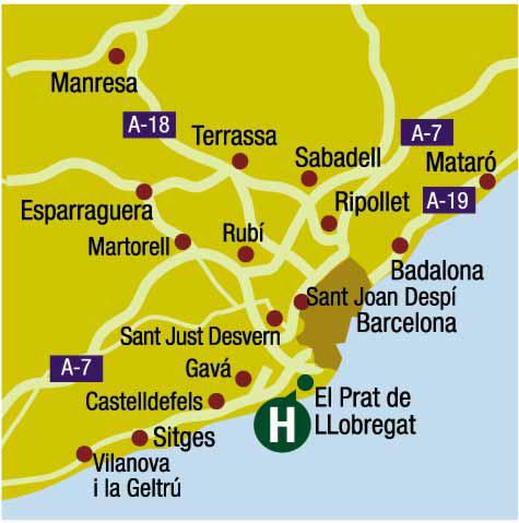Plano de acceso de Salles Hotel Ciutat Del Prat