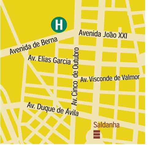 Plano de acceso de Hotel Holiday Inn Lisbon-Continental