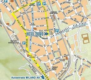 Plano de acceso de Hotel Como