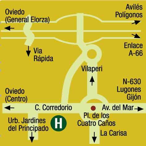 Plano de acceso de Hotel Idh Angel