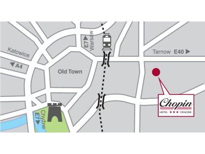 Plano de acceso de Hotel Chopin