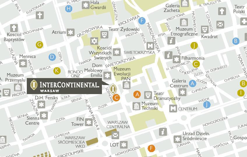 Plano de acceso de Hotel Intercontinental