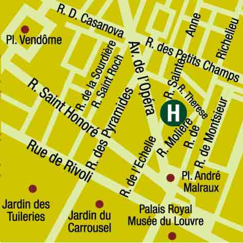 Plano de acceso de Hotel Pavillon Louvre Rivoli (75001)
