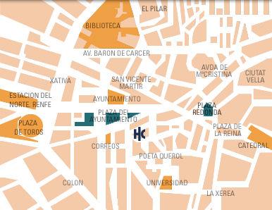 Plano de acceso de Hotel Catalonia Excelsior