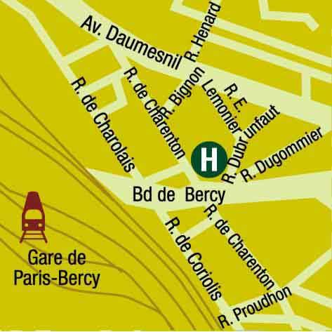 Plano de acceso de Hotel Bercy Gare De Lyon (75012)