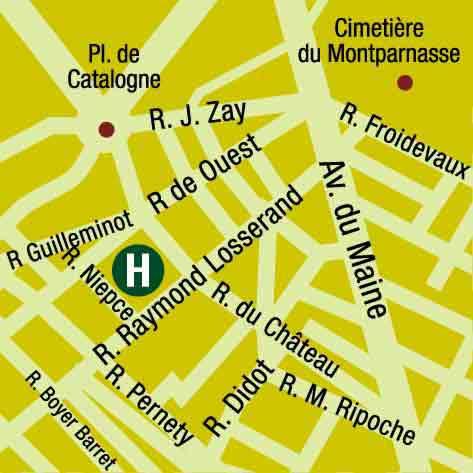 Plano de acceso de Hotel Losserand Montparnasse (75014)