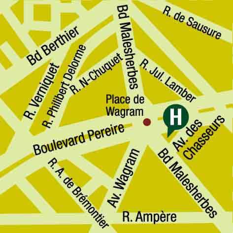 Plano de acceso de Hotel Pereire Arc De Triomphe (75017