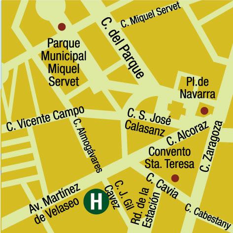 Plano de acceso de Aparthotel Huesca