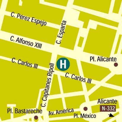 Plano de acceso de Hotel Bw Alfonso Xiii